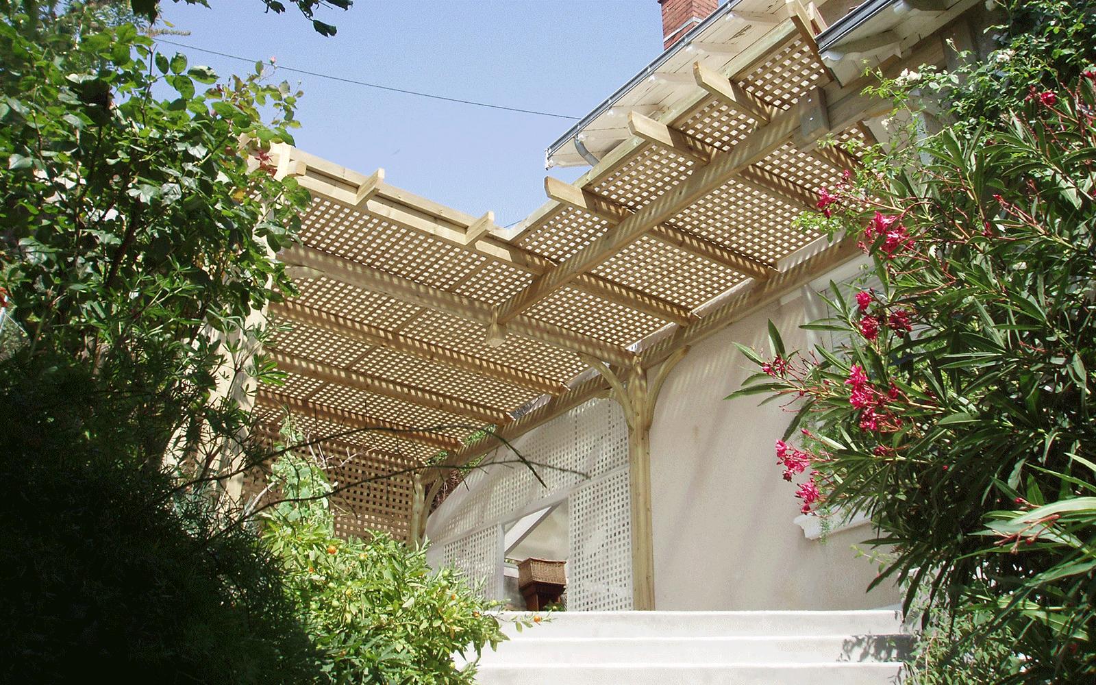 Pergola abris terrasse bois composite dauphiné environnement la murette pays voironnais